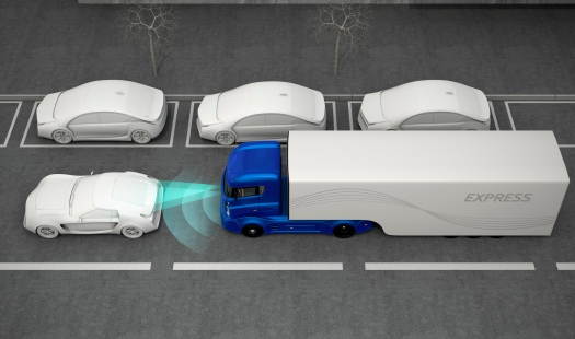 Blue truck stopped by automatic braking system
