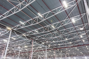 ceiling lamps with diode lighting in a modern warehouse